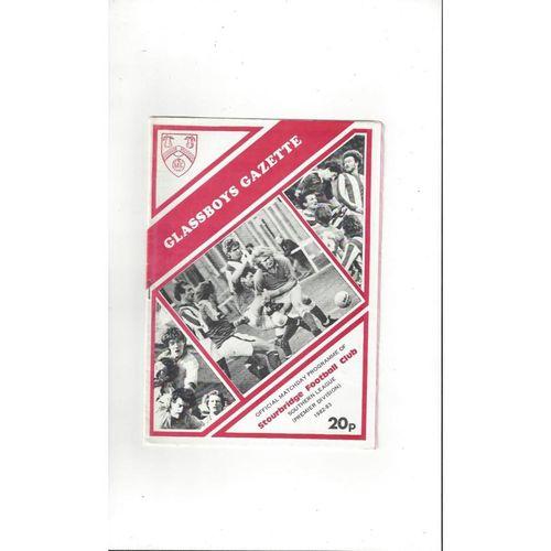 1982/83 Stourbridge v Friar Lane OB FA Cup Football Programme
