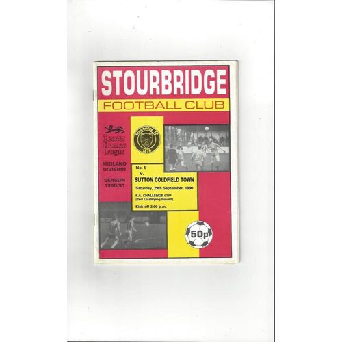 1990/91 Stourbridge v Sutton Coldfield Town FA Cup Football Programme