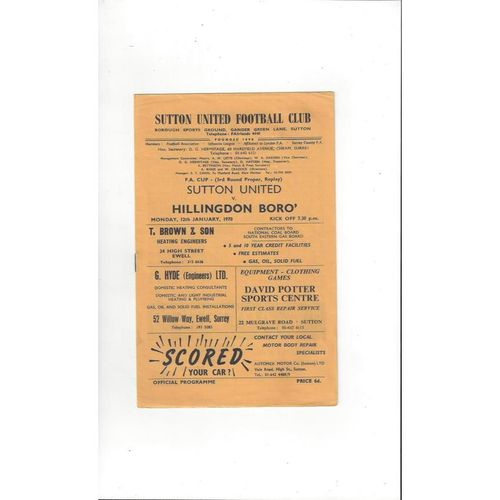 1969/70 Sutton United v Hillingdon Borough FA Cup Replay Football Programme