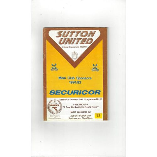 1991/92 Sutton United v Weymouth FA Cup Replay Football Programme