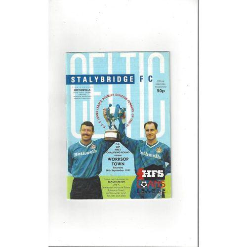 1991/92 Stalybridge Celtic v Worksop Town FA Cup Football Programme