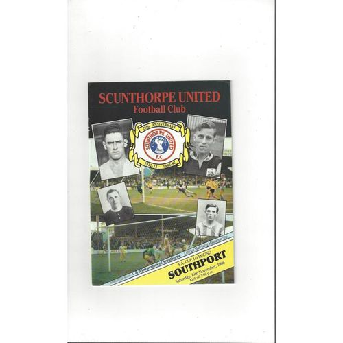 Scunthorpe United v Southport FA Cup Football Programme 1986/87