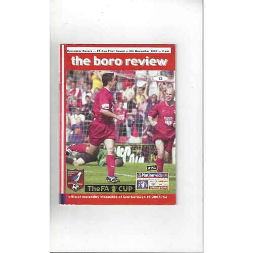 2003/04 Scarborough v Doncaster Rovers FA Cup Football Programme