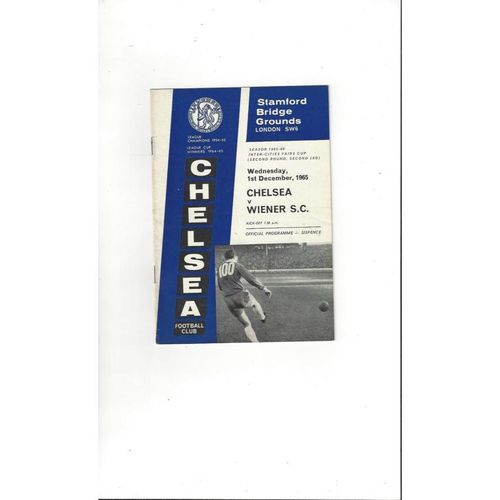 1965/66 Chelsea v Wiener Fairs Cup Football Programme