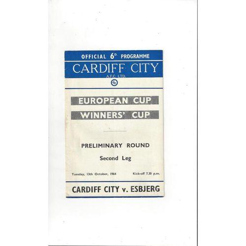 1964/65 Cardiff City v Esbjerg ECWC Football Programme