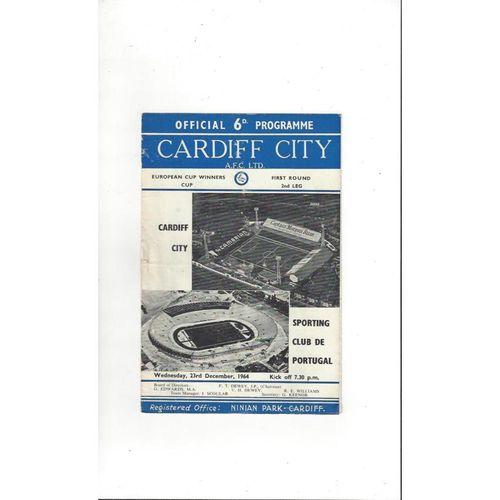 1964/65 Cardiff City v Sporting Club ECWC Football Programme