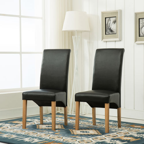 Lucy Faux Leather Dining Chairs Roll Top Scroll High Back (BLACK)
