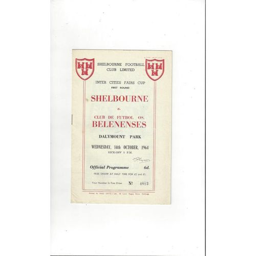 1964/65 Shelbourne v Belenenses Fairs Cup Football Programme