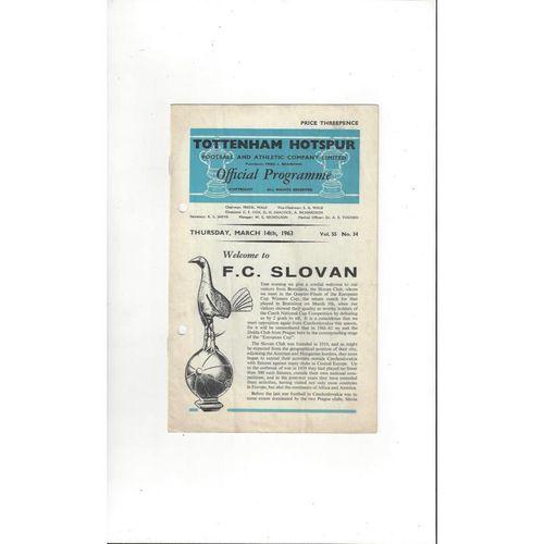 1962/63 Tottenham Hotspur v Slovan ECWC Football Programme
