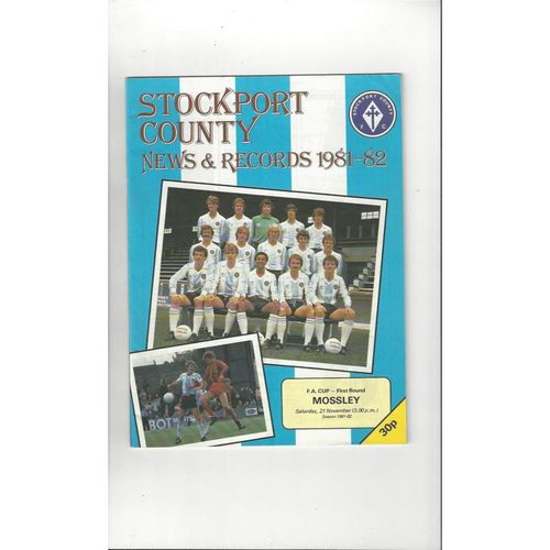 1981/82 Stockport County v Mossley FA Cup Football Programme