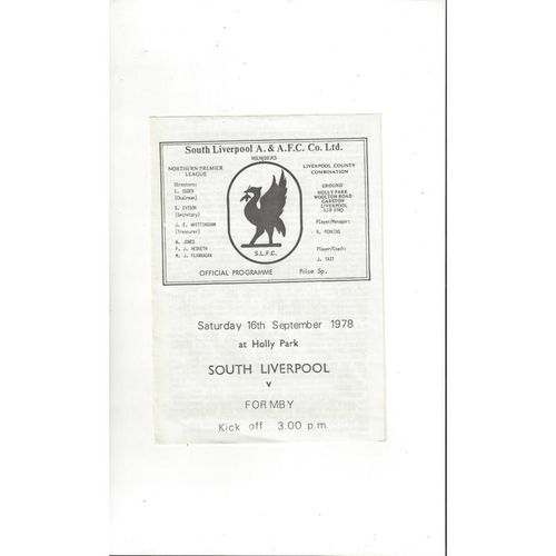 South Liverpool v Formby FA Cup Football Programme 1978/79