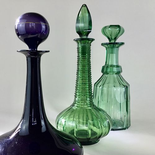 Rare green Victorian cut glass spire decanter Circa 1840s