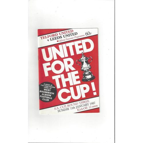 1986/87 Telford United v Leeds United FA Cup Football Programme @ WBA