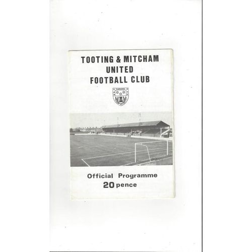 1984/85 Tooting & Mitcham v Egham Town FA Cup Football Programme