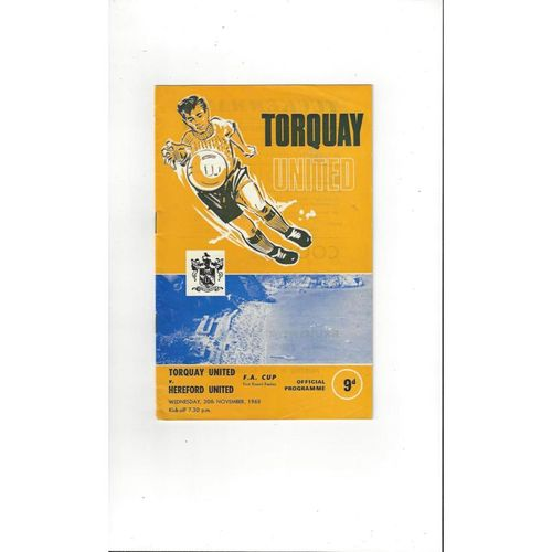 1968/69 Torquay United v Hereford United FA Cup Replay Football Programme