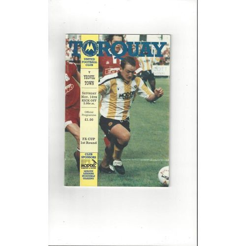 1992/93 Torquay United v Yeovil Town FA Cup Football Programme