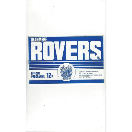1978/79 Tranmere Rovers v Boston United FA Cup Football Programme