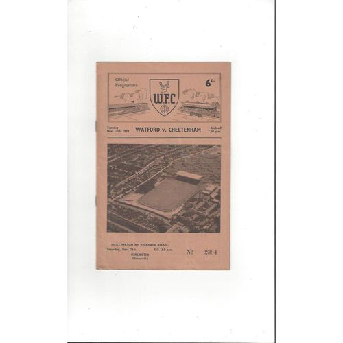 Watford v Cheltenham Town FA Cup Replay Football Programme 1959/60