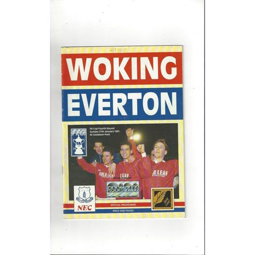 1990/91 Woking v Everton FA Cup Football Programme