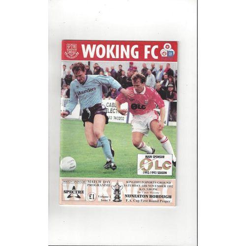 1992/93 Woking v Nuneaton Borough FA Cup Football Programme