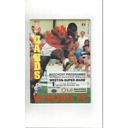 1993/94 Woking v Weston Super Mare FA Cup Football Programme