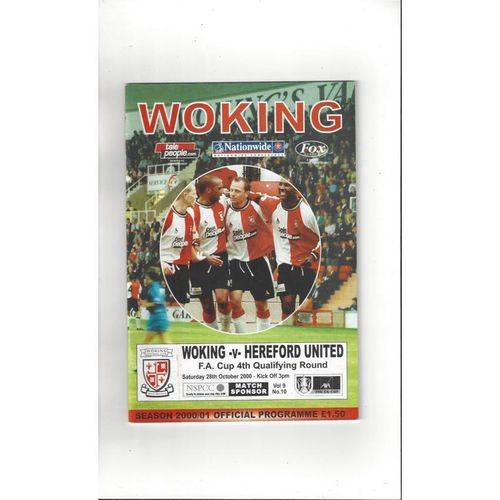 2000/01 Woking v Hereford United FA Cup Football Programme