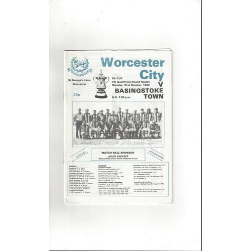 1983/84 Worcester City v Basingstoke Town FA Cup Replay Football Programme