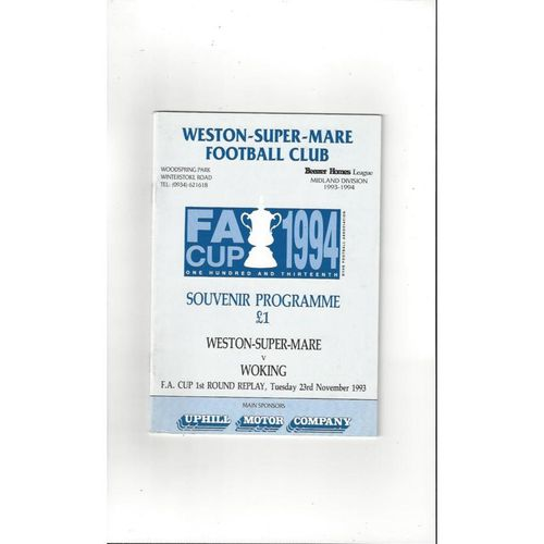 Weston Super Mare v Woking FA Cup Replay Football Programme 1993/94