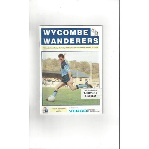1990/91 Wycombe Wanderers v Boston United FA Cup Replay Football Programme