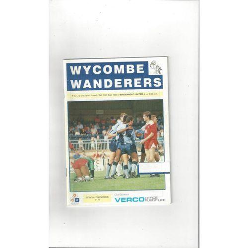 1990/91 Wycombe Wanderers v Maidenhead United FA Cup Football Programme