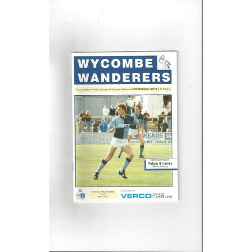 1990/91 Wycombe Wanderers v Peterborough United FA Cup Football Programme