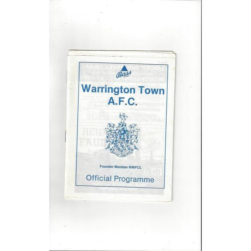 1988/89 Warrington Town v Leek Town FA Cup Football Programme