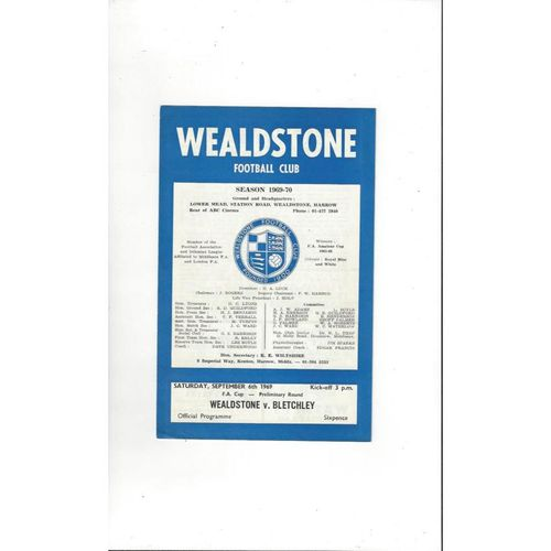 1969/70 Wealdstone v Bletchley FA Cup Football Programme
