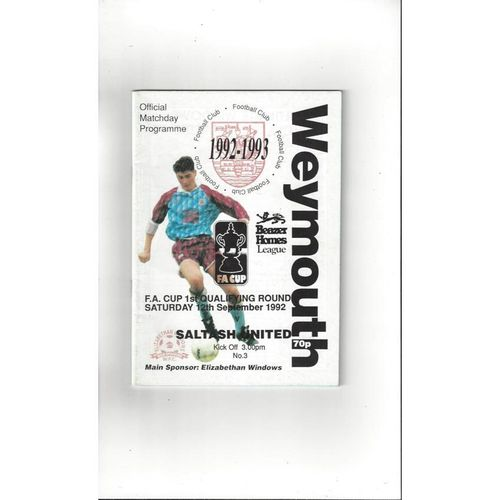 Weymouth v Saltash United FA Cup Football Programme 1992/93