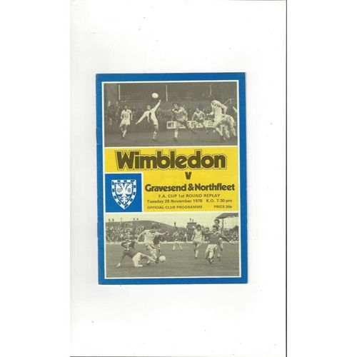 1978/79 Wimbledon v Greavesend & Northfleet FA Cup Replay Football Programme