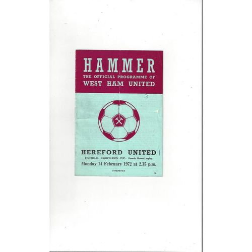 West Ham United v Hereford United FA Cup Replay Football Programme 1971/72