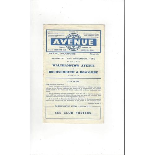 1959/60 Walthamstow Avenue v Bournemouth FA Cup Football Programme