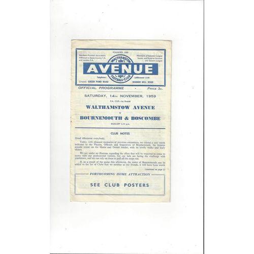 1959/60 Walthamstow Avenue v Bournemouth FA Cup Football Programme