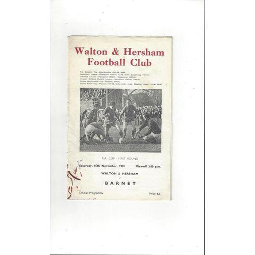 1969/70 Walton & Hersham v Barnet FA Cup Football Programme