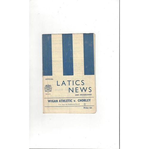 1969/70 Wigan Athletic v Chorley FA Cup Football Programme