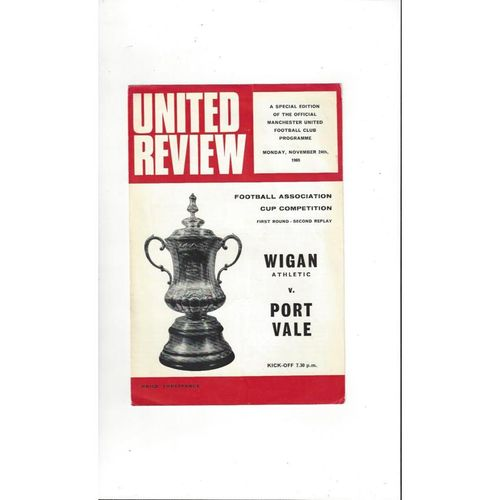 1969/70 Wigan Athletic v Port Vale FA Cup 2nd Rep Football Programme @ Man Utd