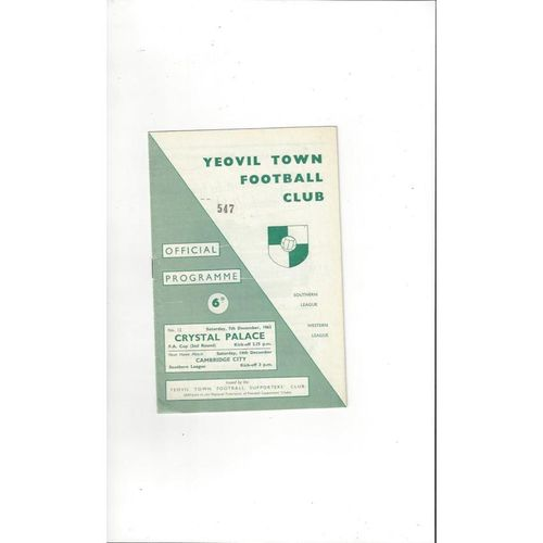 1963/64 Yeovil Town v Crystal Palace FA Cup Football Programme