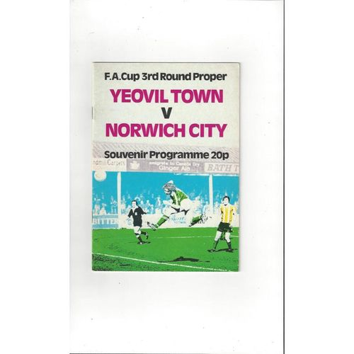 Yeovil Town v Norwich City FA Cup Football Programme 1979/80