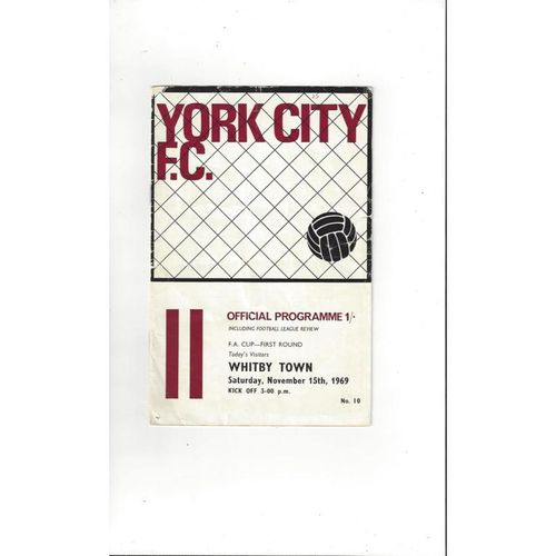 York City v Whitby Town FA Cup Football Programme 1969/70