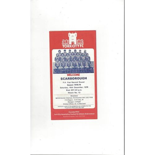 1978/79 York City v Scarborough FA Cup Football Programme
