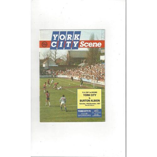 1987/88 York City v Burton Albion FA Cup Football Programme