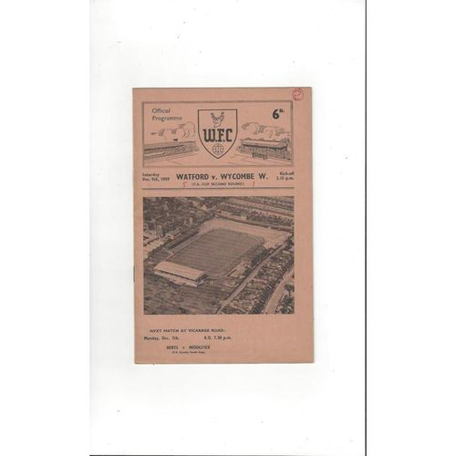 1959/60 Watford v Wycombe Wanderers FA Cup Football Programme