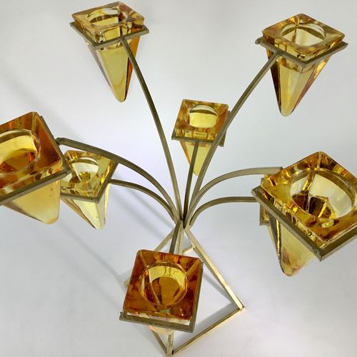 Fabulous 1970s amber glass and metal eight light candelabra