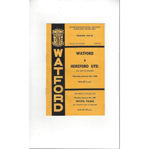 1967/68 Watford v Hereford United FA Cup Football Programme