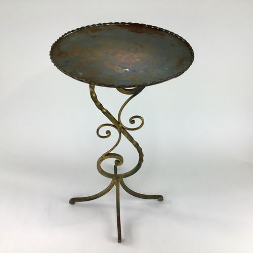 Patinated gilded iron scroll side table